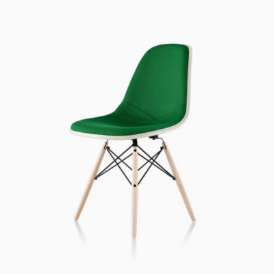Eames Molded Fiberglass Side Chair Dowel Base Upholstered