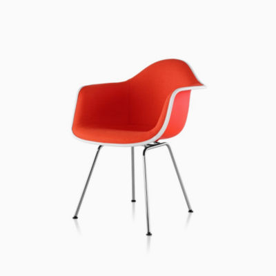 Eames Molded Plastic Armchair 4-Leg Base Upholstered