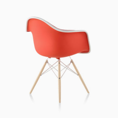 Eames Molded Plastic Armchair Dowel Base Upholstered
