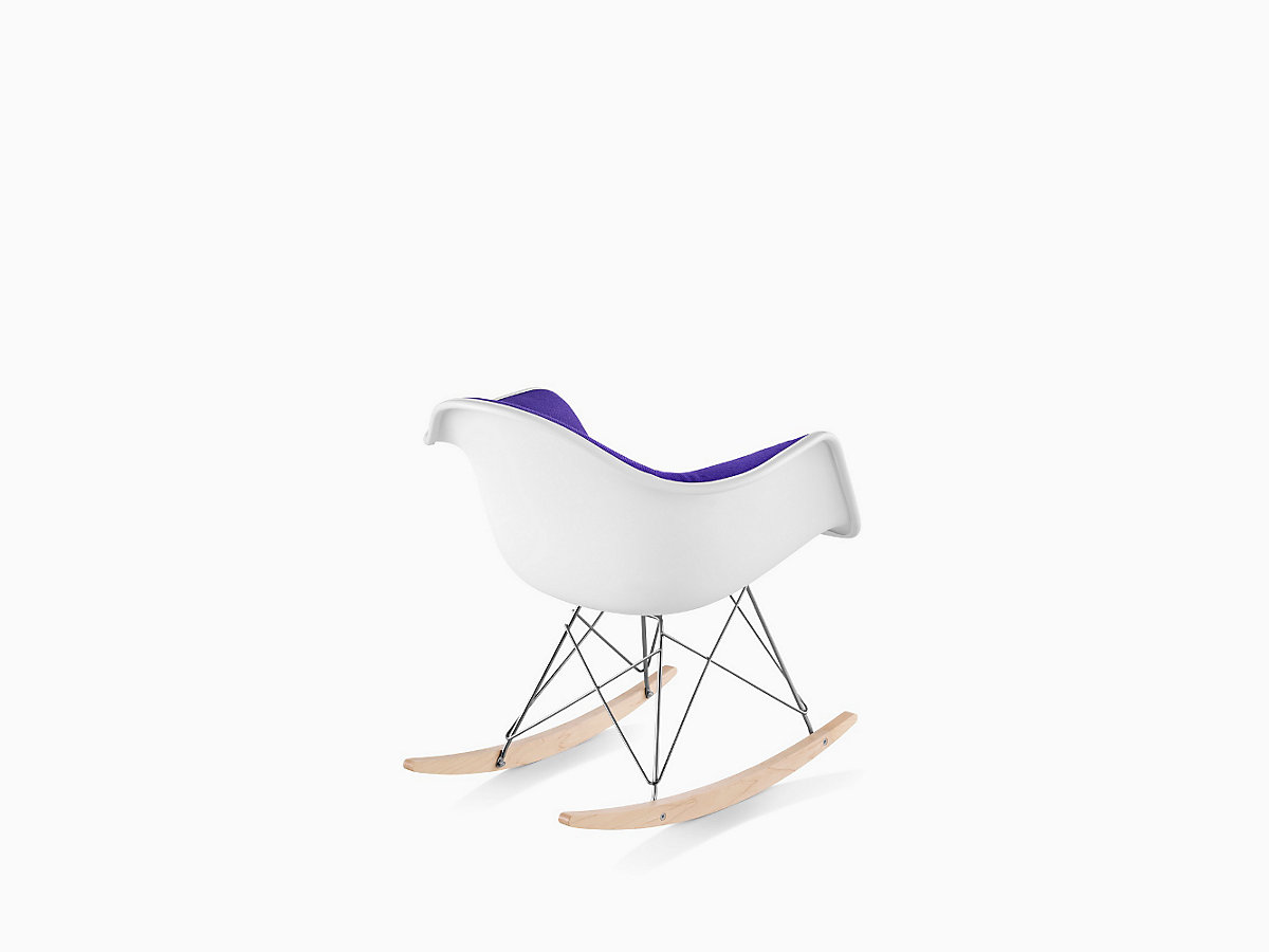 eames molded plastic armchair rocker base upholstered herman miller