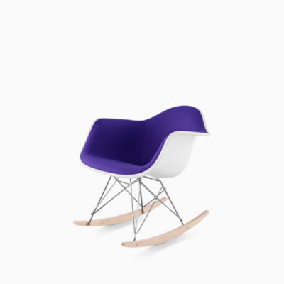 Eames Molded Plastic Armchair Rocker Base Upholstered