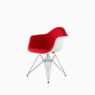 Eames Molded Plastic Armchair Wire Base Upholstered