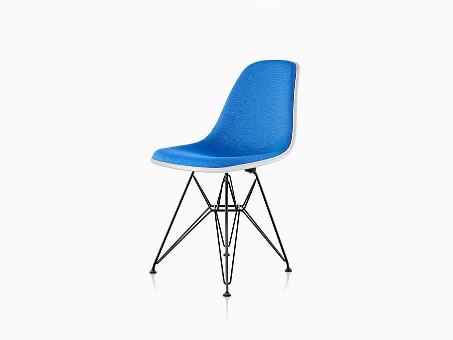 eames molded plastic side chair wire base upholstered. Black Bedroom Furniture Sets. Home Design Ideas