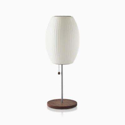 Nelson Cigar Lotus Table Lamp, Walnut Base