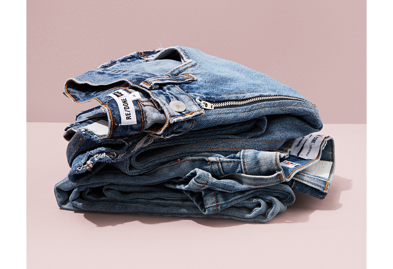 RE/DONE Upcycled from vintage Levi's, RE/DONE is creating sustainable, contemporary denim as unique as their wearer. Manufactured in Downtown Los Angeles, the brand uses water conserving methods and no harsh chemicals $385