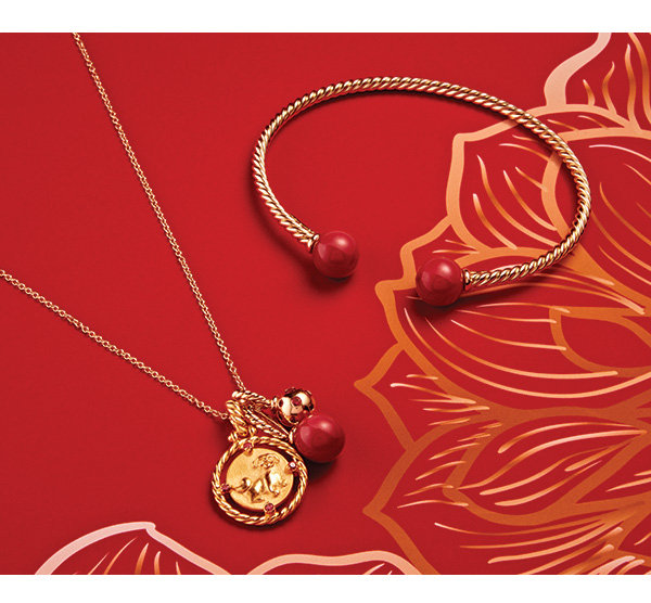 David Yurman Solari Bead Bracelet With 18K Gold And Red Enamel David Yurman Solari Pendant Necklace In 18K Gold With Cherry Amber