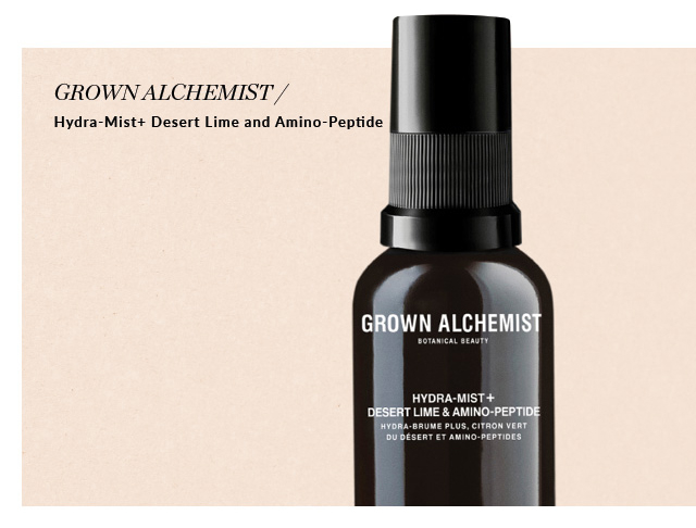 GROWN ALCHEMIST Hydra-Mist+ Desert Lime and Amino-Peptide. $36. Available at Holt Renfrew Bloor Street, Square One, Yorkdale, Montreal, Calgary, Edmonton, and Vancouver. FIND YOUR STORE