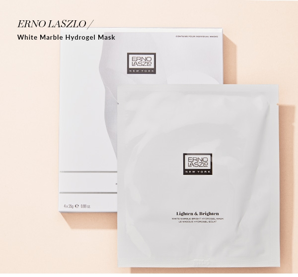 ERNO LASZLO White Marble Hydrogel Mask. Single, $22; Multi-Pack, $80. Exclusively at Holt Renfrew. SHOP NOW