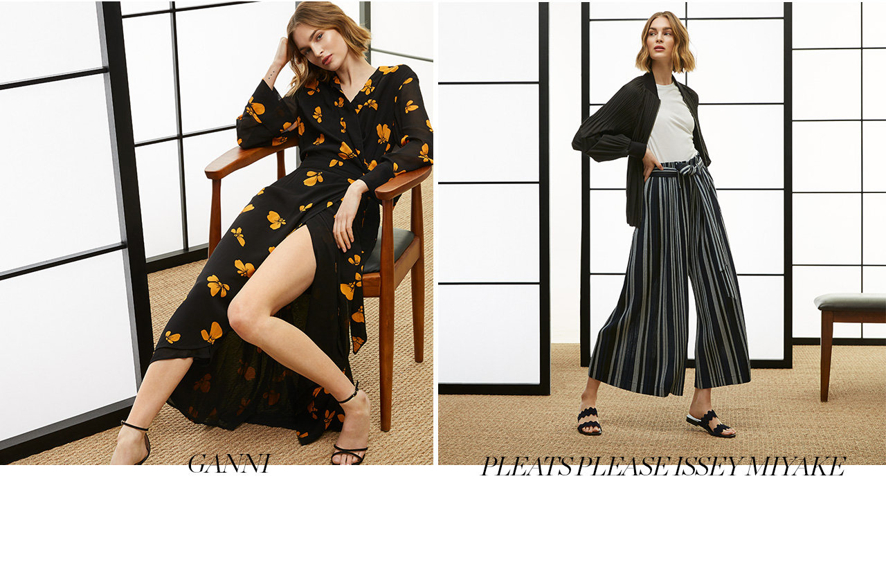GANNI Wrap dress in floral print. $350. SKU: 5396078271006. AQUAZZURA leather sandal. $765. SKU: 4310105772. PLEATS PLEASE ISSEY MIYAKE Pleated bomber jacket. $1145. SKU: 4310014693. Culottes with belt in stripe print. $905. SKU: 4310015054. ACNE STUDIOS t-shirt with hanging tie. $230. SKU: 4310013737. PRADA leather and suede sandal. $720. SKU: 4309902809.