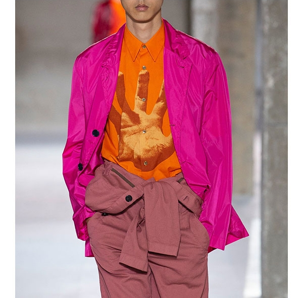 Top Trend/Brighten Up. Designers embraced colour this season, with neon brights in tech-inspired fabrics showing up on everything from streetwear brands like Stone Island and designer labels like Dries Van Noten. —Joseph Tang