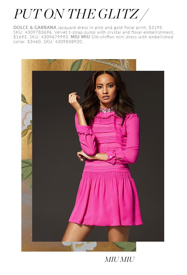 Holt Renfrew Woman Wearing Dolce & Gabbana Jacquard Dress In Pink And Gold Floral Print. Woman Wearing Miu Miu Silk-Chiffon Mini Dress With Embellished Collar.