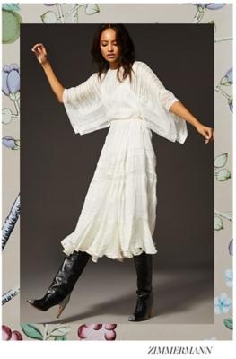 Holt Renfrew Woman Wearing Rixo Katie Button Down Maxi Dress. Woman Wearing Zimmermann Lace Whitewave Veil Dress In Pearl.