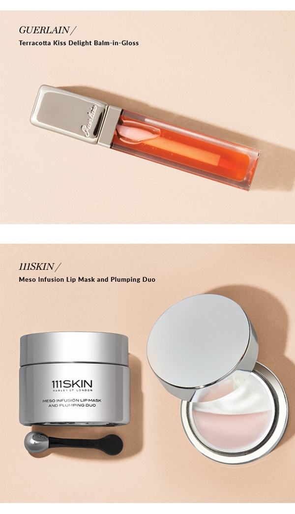 GUERLAIN / Terracotta Kiss Delight Balm-in-Gloss. 111SKIN / Meso Infusion Lip Mask and Plumping Duo