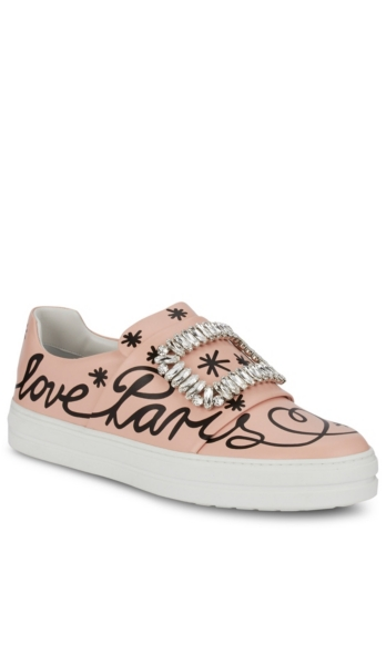ROGER VIVIER - Sneaky Viv 'Love Paris' Leather Slip-On Sneakers | HoltRenfrew.com
