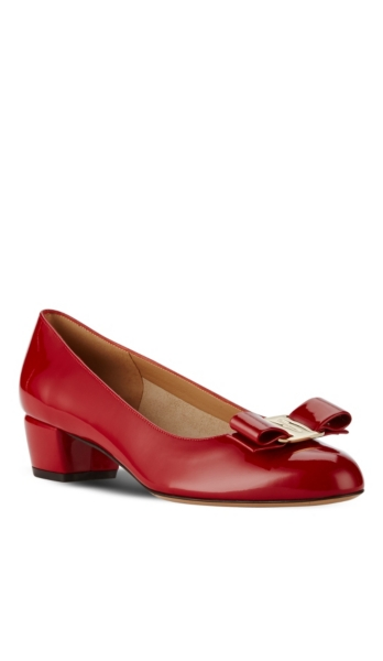 SALVATORE FERRAGAMO - Vara Patent Leather Low-Heel Pumps | HoltRenfrew.com