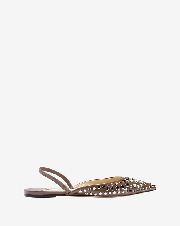 Jimmy Choo D'Orsay Sling-Back Patent Leather Flat: Grey