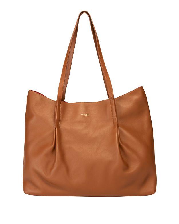 Nina Ricci Ondine Leather Pleated Tote: Brown