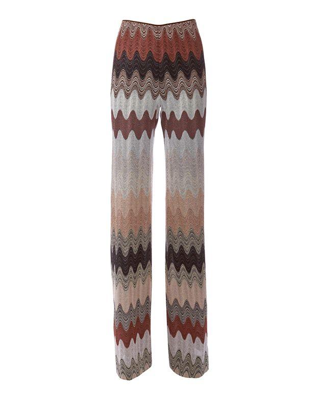 Missoni Zig Zag Pattern Knit Pant: Brown