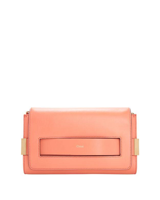 Chloe Elle Chain Medium Clutch: Coral