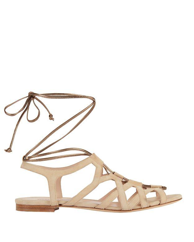 Duccio Venturi Metallic Tie Suede Gladiator Sandal