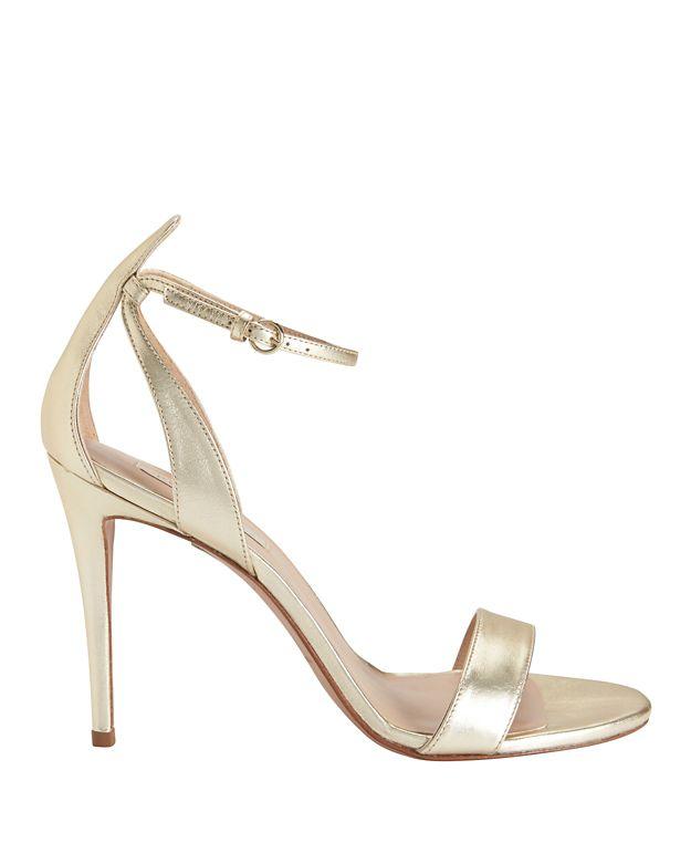 Pura Lopez Ankle Strap Metallic Sandal