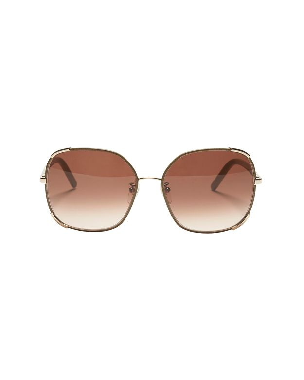 Chloe Leather Frame Trim Sunglasses