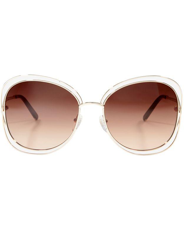 Chloe Carlina Square Sunglasses: Rosegold