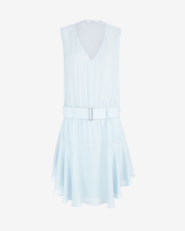 A.L.C. EXCLUSIVE Sheer Chiffon Belted Flare Dress
