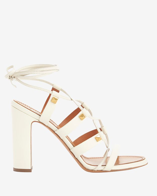 Valentino Rockstud Chunky Heel Lace Up Gladiator Sandals