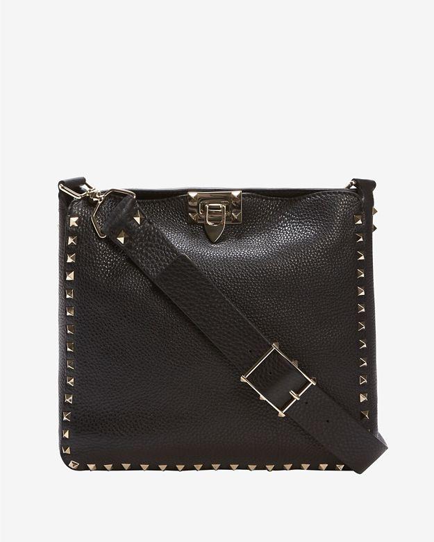 Valentino Rockstud Small Pebbled Leather Messenger: Black