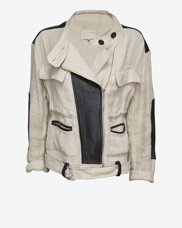 IRO EXCLUSIVE Leather Detail Linen Jacket