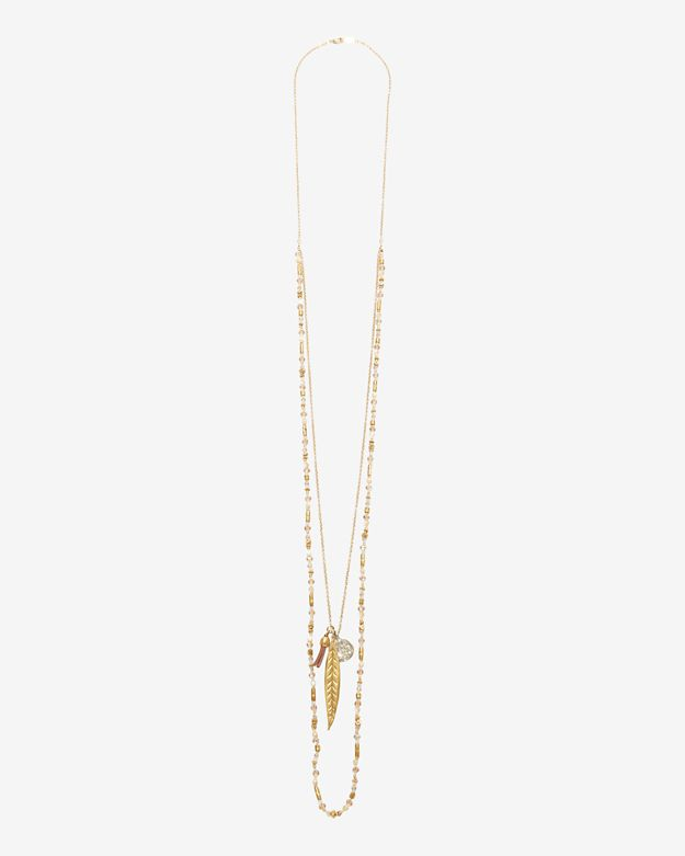 Chan Luu Double Layer Beaded Charm Necklace