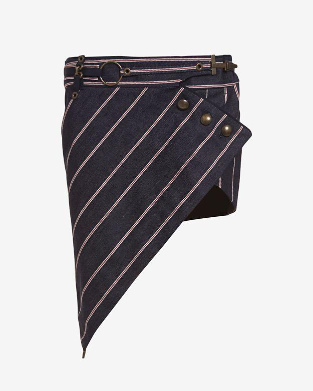 Anthony Vaccarello Three Button Stripe Skirt