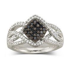 Sterling Silver Color-Enhanced Black Diamond Ring