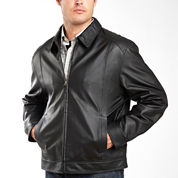 Excelled® Nappa Leather Open-Bottom Bomber Jacket–Big & Tall