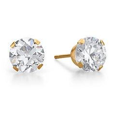 Cubic Zirconia Stud Earrings, 10K Gold Round