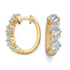 Genuine Sky Blue Topaz & Diamond-Accent Hoop Earrings
