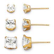 14K Yellow Gold Cubic Zirconia 3-pr. Stud Earring Set