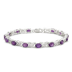 Genuine Amethyst with Diamond-Accents Sterling Silver