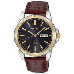 Seiko® Mens Brown Leather Strap Solar Watch SNE102