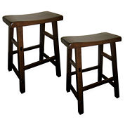 Calvin Set of 2 Distressed Saddle Stools