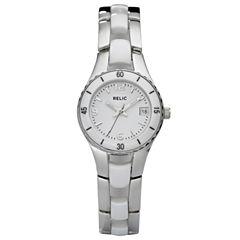 Relic® Womens White Ceramic & Steel Dress Watch ZR11894