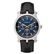 Claiborne Mens Black & Blue Multifunction Watch