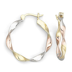 18K over Sterling Tri-Color Twist Hoop Earrings