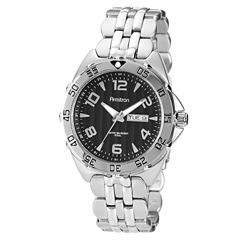 Armitron® Mens Black Dial Stainless Steel Watch
