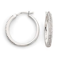 1/10 CT. T.W. Diamond Sterling Silver Hoop Earrings
