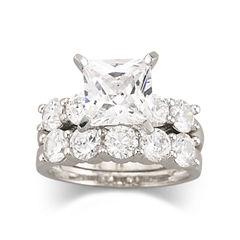 DiamonArt® Cubic Zirconia Engagement Ring Set