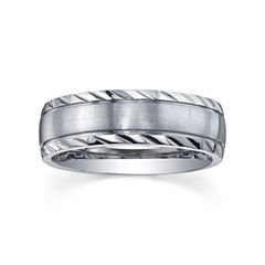 Stainless Steel Diamond-Cut Ring - Mens Band