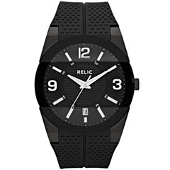 Relic® Mens Black Silicone Strap Watch ZR11972