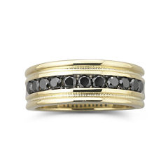 Mens 1 CT. T.W. Black Diamond Ring 14K Gold Over Sterling Silver